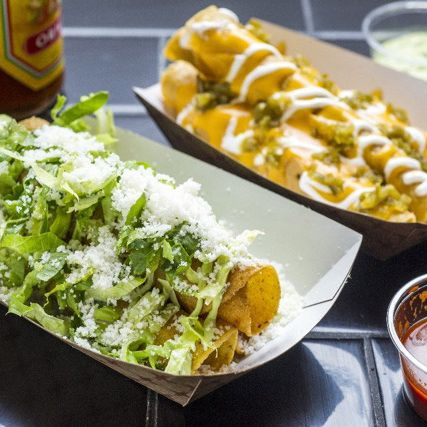Taquitoria offers San Diego–style rolled tacos.