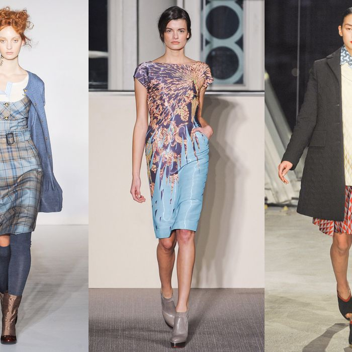 Looks from Vivienne Westwood Red Label, Matthew Williamson, and Jonathan Saunders.