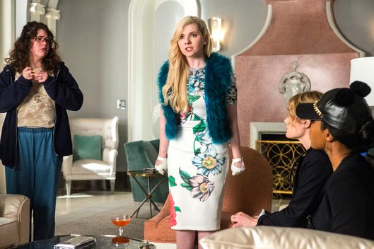 "SCREAM QUEENS: Pictured L-R: Breezy Eslin as Jennifer, Abigail Breslin as Chanel #5, Skyler Samuels as Grace and Keke Palmer as Zayday in the ""Chainsaw"" episode of SCREAM QUEENS airing Tuesday, Sept. 29 (9:00-10:00 PM ET/PT) on FOX. ©2015 Fox Broadcasting Co. Cr: Skip Bolen/FOX."