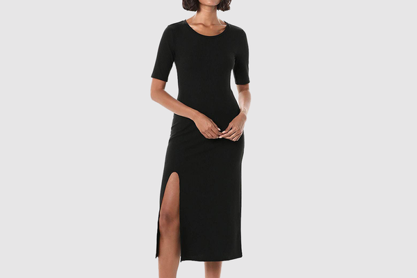The Drop Women's Angela Short Sleeve Ribbed Crew Neck Midi Dress