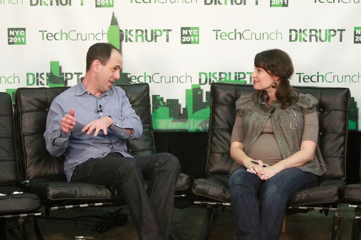 Square's Keith Rabois and TechCrunch editor-at-large Sarah Lacy interview at TechCrunch Disrupt New York May 2011 at Pier 94 on May 25, 2011 in New York City.