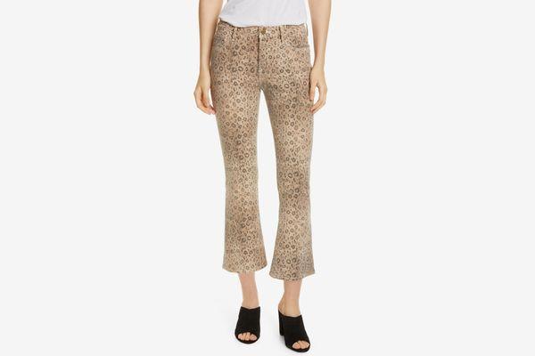 Frame Le Crop High Waist Mini Boot Snake Print Jeans