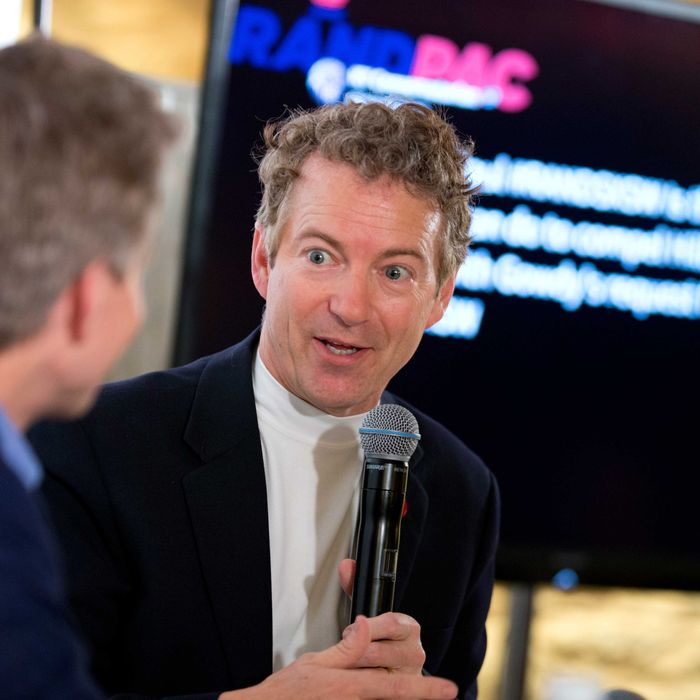 U.S. Sen. Rand Paul of Kentucky answers questions during a Twitter town hall while making a SXSW event.