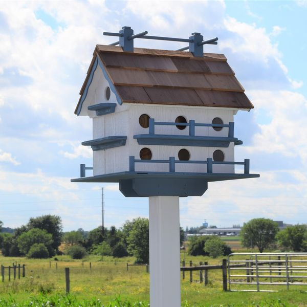 Amish Home Outdoor Birdhouse Extra Large 14 Room Purple Martin birdhouse