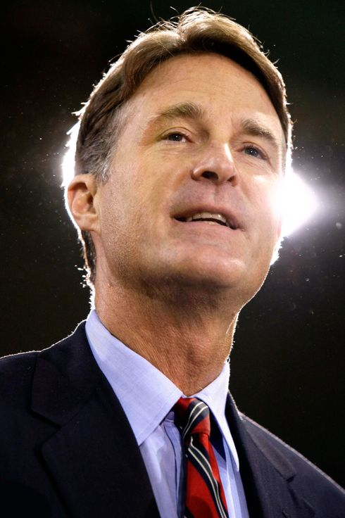 Sen. Evan Bayh, D-Ind., introduces Democratic presidential candidate Sen. Barack Obama, D-Ill., at a town hall rally at Concord High School in Elkhart, Ind. Wednesday, Aug. 6, 2008.