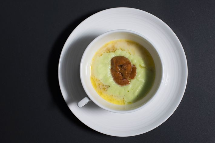 Uni Royale: edamame purée, foie gras, Santa Barbara uni.