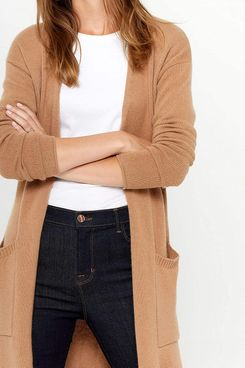 State Cashmere Mid-Length 100 Percent Pure Cashmere Open Cardigan