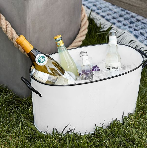 Pottery Barn Handcrafted White Enamel Party Bucket
