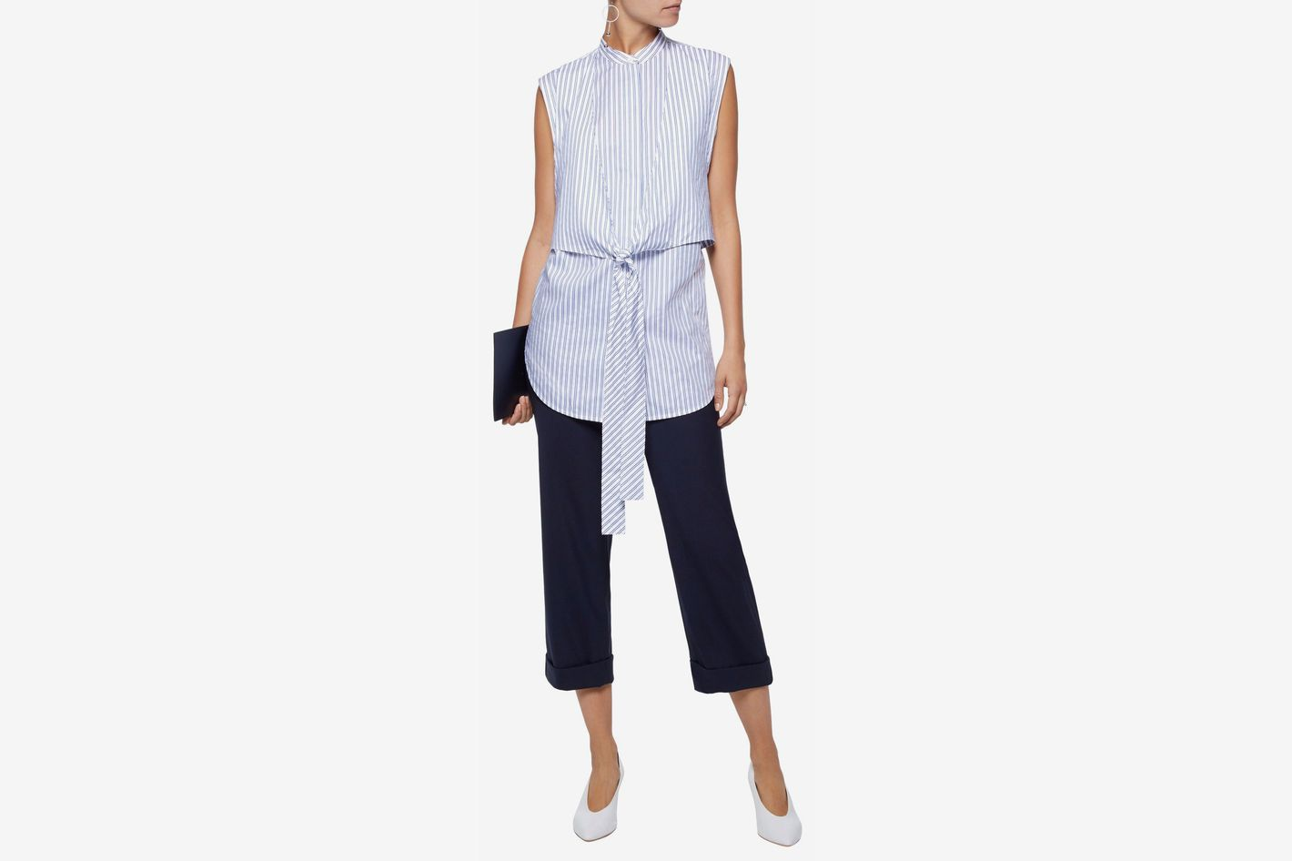 Helmut Lang Tie-front layered striped cotton-poplin shirt
