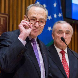 NYC Mayor De Blasio, Sen. Schumer, And NYPD Chief Bratton Discuss Anti-Terror Federal Funding Cuts