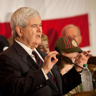 CHARLESTON, SC - JANUARY 20: Republican presidential candidate, former Speaker of the House Newt Gingrich speaks at a campaign event onboard the decommissioned aircraft carrier USS Yorktown on January 20, 2012 in Charleston, South Carolina. Voters go to the polls January 21 in the Republican South Carolina primary. (Photo by Richard Ellis/Getty Images)
