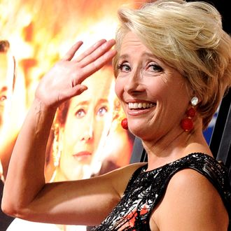 Actress Emma Thompson arrives at the premiere of Walt Disney Pictures'
