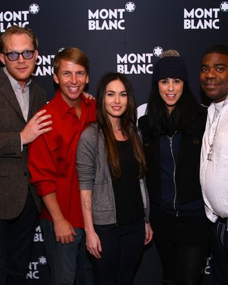 NEW YORK, NY - NOVEMBER 14: (L-R) Patricia McGregor, Paul Bettany, Jack Mcbrayer, Megan Fox, Sarah Silverman and Tracy Morgon pose after curtain call for MONTBLANC Presents The 10th Annual Production of