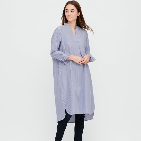 Extra Fine Cotton A-Line Striped Long-Sleeved Dress