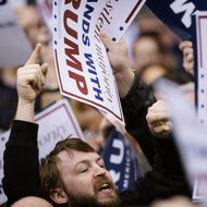A protester yells during a Trump rally at the International Exposition Center March 12, 2016 in Cleveland, Ohio. Donald Trump is under fire from rivals who blamed his incendiary rhetoric for a violent outbreak Friday between protesters and supporters at the Republican frontrunner's rally in Chicago.