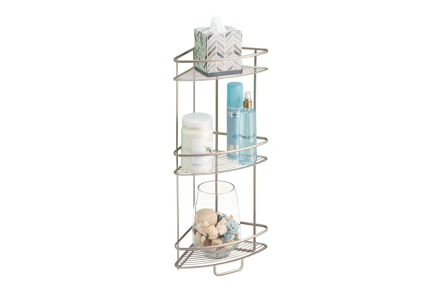 mDesign Free Standing Bathroom or Shower Corner Storage