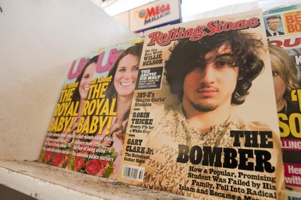 July 17, 2013 - Orange County, California, USA - The August 1, 2013 issue of Rolling Stone Magazine features on the cover a portrait of alleged Boston Bombing suspect Jahar Tsarnaev.  The controversial cover, with a 12 page article attributed to Rolling Stone Contributing Editor Janet Reitman, has many in Boston upset at what many have come to expect to be on the cover of the Rolling Stone, a rock star, adding that the photo resembles a September 1981Rolling Stone Cover of the late Jim Morrison.---In the photo a copy of Rolling Stone with the controversial cover on display with other magazines at an Orange County. California Liquor Store. (Credit Image: © David Bro/ZUMAPRESS.com)
