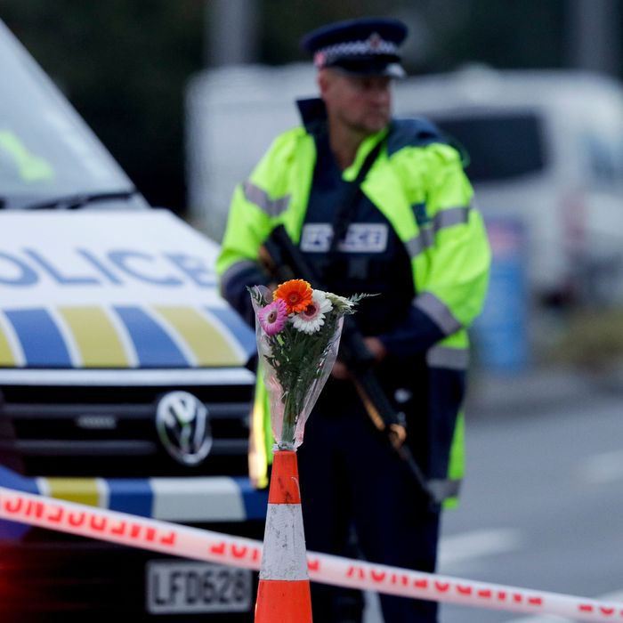 Police at a mosque in Christchurch, New Zealand, the site of a mass shooting that claimed 49 lives on March 15, 2019.