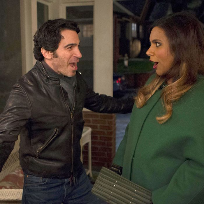 THE MINDY PROJECT: Danny (Chris Messina, L) has a surprise for Mindy (Mindy Kaling, R) in the season finale