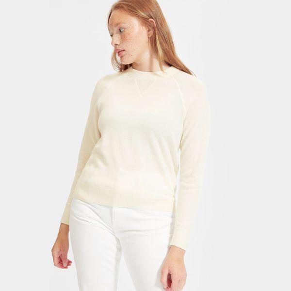 Everlane Cashmere Shrunken Sweatshirt, Ivory