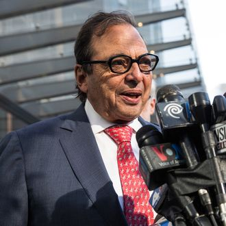 NEW YORK, NY - NOVEMBER 03: Developer Douglas Durst speaks at a press conference announcing the opening of One World Trade Center on November 3, 2014 in New York City. The skyscraper is 104 stories tall and cost $3.9 billion; it opens more than 13 years after the terrorist attacks of September 11, 2001, destroyed the original World Trade Center buildings. Officials say the building is currently at 60% occupancy, with Conde Nast as one of the first major tenants to move in. (Photo by Andrew Burton/Getty Images)