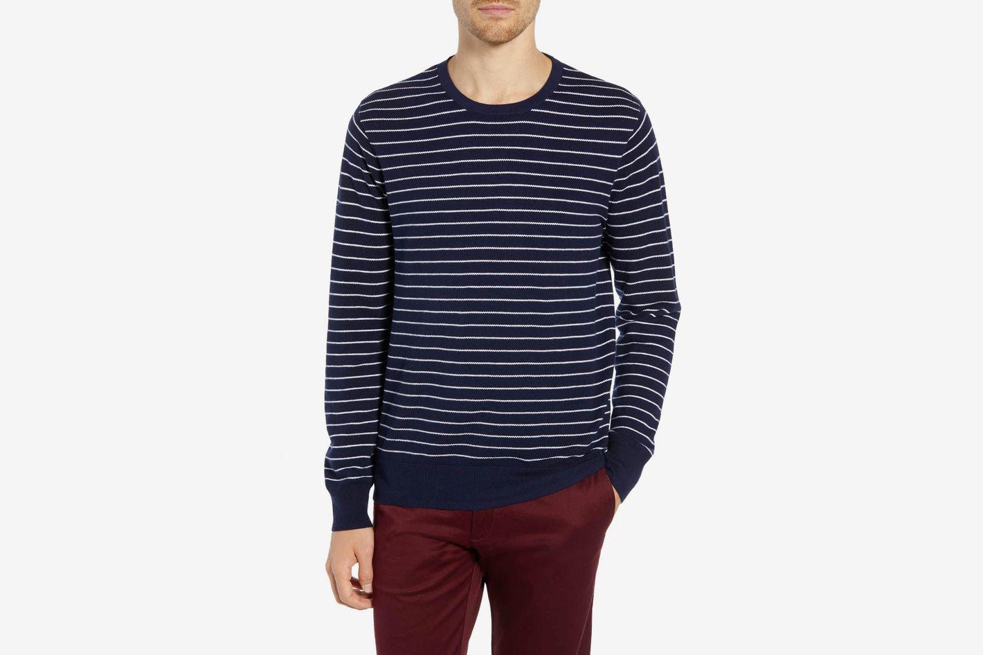 J.Crew Stripe Piqué Cotton & Cashmere Crewneck Sweater