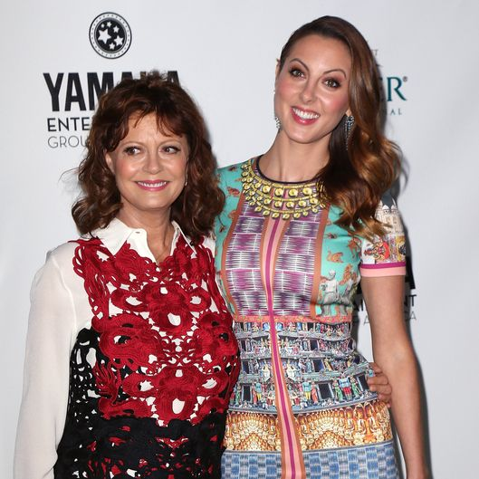 "BEVERLY HILLS, CA - SEPTEMBER 19:  Actress Susan Sarandon (L) and daughter actress Eva Amurri Martino attend Heifer International's ""Beyond Hunger: A Place at the Table"" gala at Montage Beverly Hills on September 19, 2013 in Beverly Hills, California.  (Photo by David Livingston/Getty Images)"