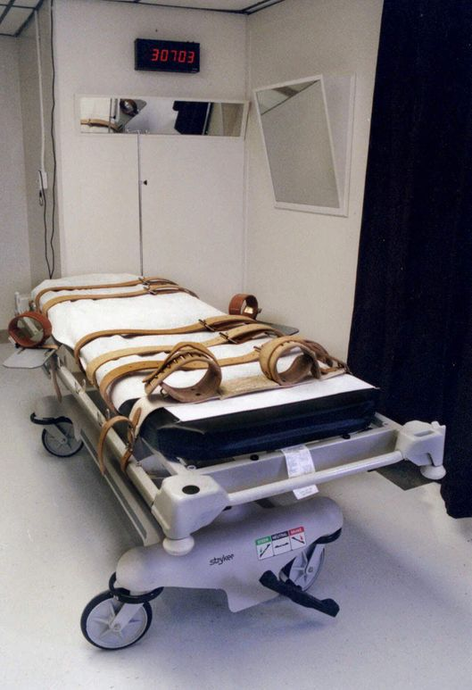 Florida's lethal injection gurney is shown in an undated handout photo taken in the redesigned death chamber which will accomodate either the electric chair or the gurney at Florida State Prison. (AP Photo/Fla. Dept. of Corrections)