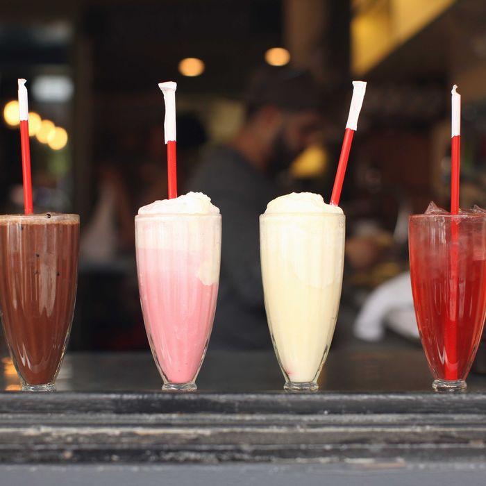 Chocolate soda, Purple Cow ice cream soda, Orange Whip ice cream soda, and Sour-Cherry phosphate soda.