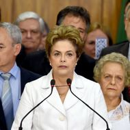 Brazil's suspended President Dilma Rousseff makes a statement at the Planalto Palace in Brasilia on May 12, 2016.