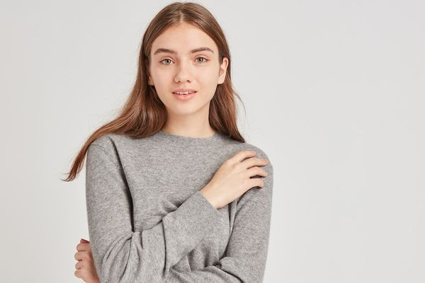 Women Cashmere Relaxed Fit Crew Neck Jumper (Grey)