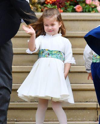 Princess Charlotte at Princess Eugenie's wedding.