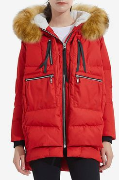 Orolay Women's Thickened Down Jacket Winter Coat With Fur Hood