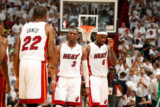 MIAMI, FL - JUNE 5: James Jones #22, Dwyane Wade #3 and LeBron James #6 of the Miami Heat during the game against the Boston Celtics in Game Five of the Eastern Conference Finals during the 2012 NBA Playoffs on June 5, 2012 at American Airlines Arena in Miami, Florida.  NOTE TO USER: User expressly acknowledges and agrees that, by downloading and or using this photograph, User is consenting to the terms and conditions of the Getty Images License Agreement. Mandatory Copyright Notice: Copyright 2012 NBAE  (Photo by Issac Baldizon/NBAE via Getty Images)