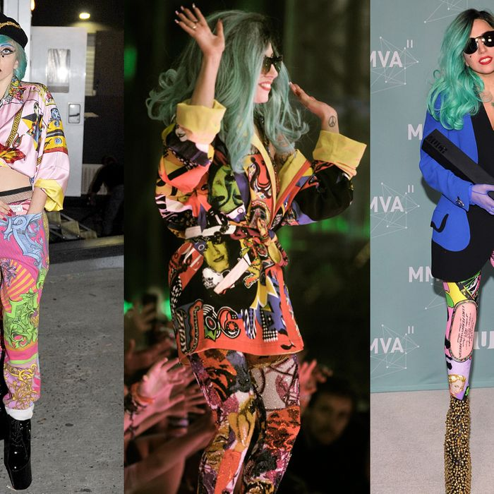 Gaga in Paris last week (left), and at the MuchMusic Awards over the weekend in Canada (center, right).
