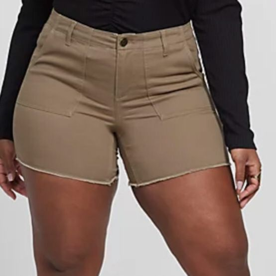 Fashion to Figure Olive Utility Cutoff Shorts