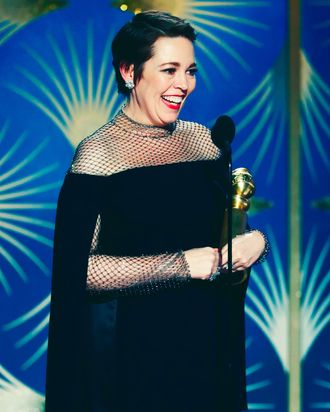 Olivia Colman accepting the Golden Globe for Best Actress for