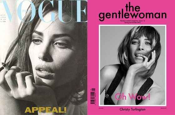 "In the eighties, Steven Meisel shot her for Italian <i>Vogue</i>'s October 1989 issue. This year, Inez and Vinoodh photographed Turlington in a similar pose (<a href=""http://www.youtube.com/watch?v=9ql6qfIKAJg"">without cigarette, though!</a>) for the<i> Gentlewoman</i>."