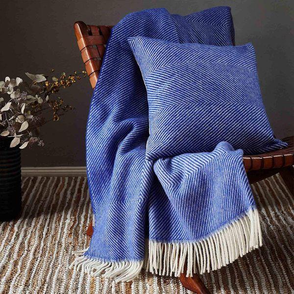 Urbanara Salantai Woollen Blanket – 100% Pure New Wool, Herringbone Design Blanket With Fringes