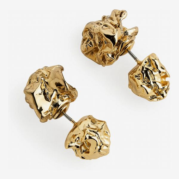 Arket Crunched Double-Stud Earrings