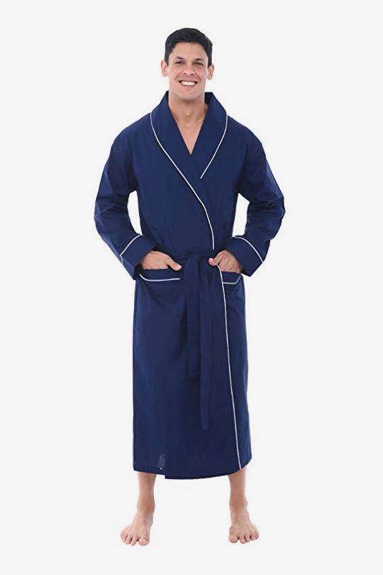 Alexander Del Rossa Men s Solid Cotton Robe e903eabe0