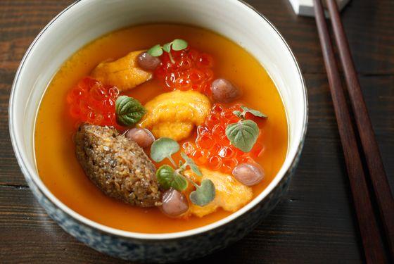 Silken tofu, uni, ikura, mushroom, shiso.