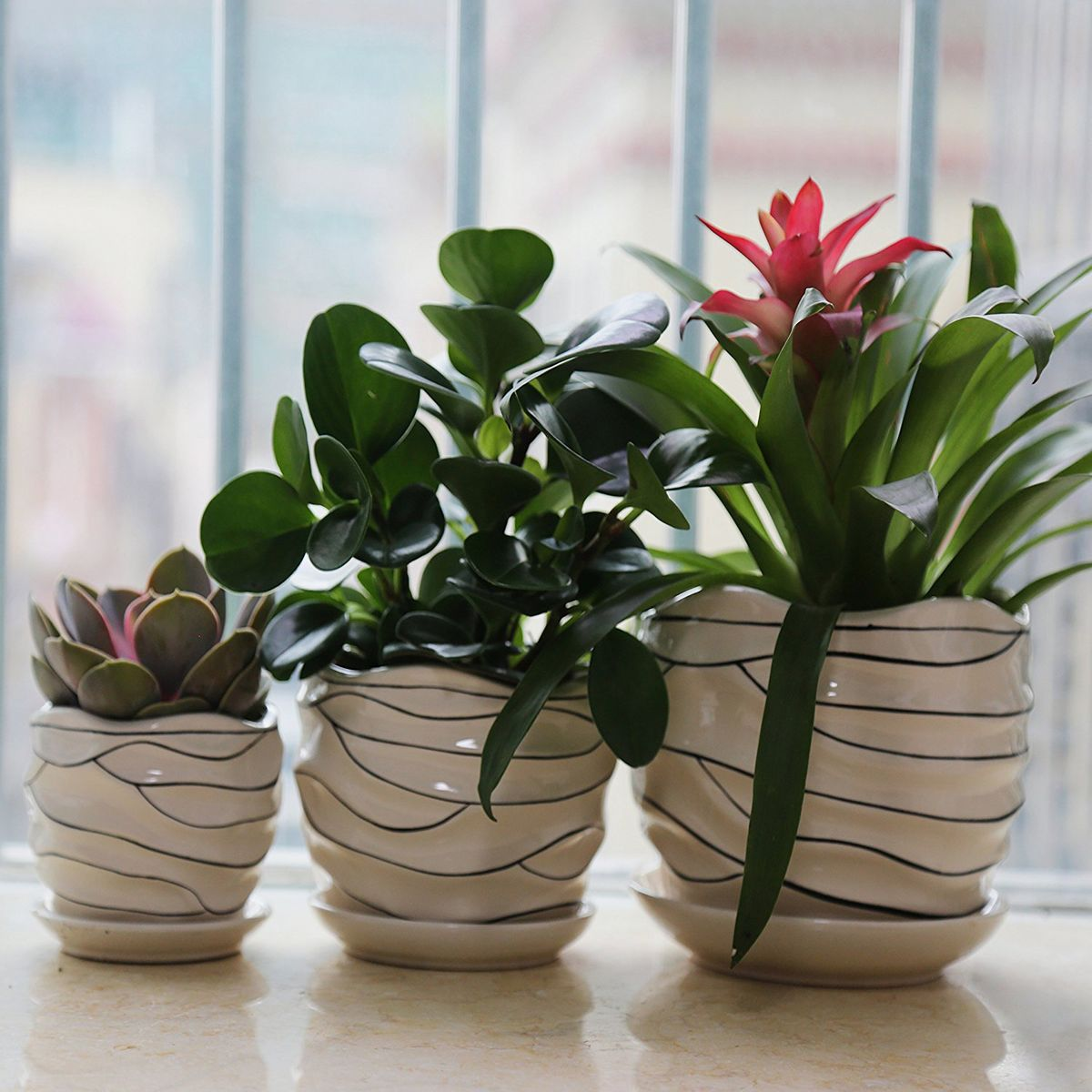 Modern Geometric Ceramic Tabletop Flower Pots MAKES A GREAT GIFT IDEA!