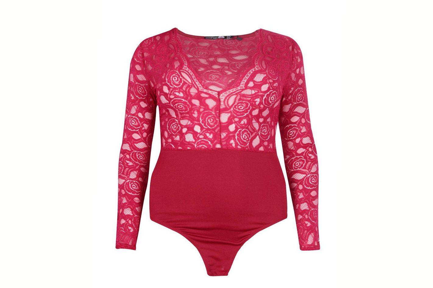 Plus Lucia Plunge V Neck Lace Bodysuit
