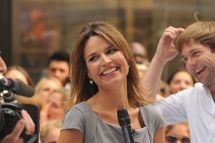 "NEW YORK, NY - JUNE 29:  Savannah Guthrie first day as co-host on NBC's ""Today"" at Rockefeller Plaza on June 29, 2012 in New York City.  (Photo by Theo Wargo/WireImage)"