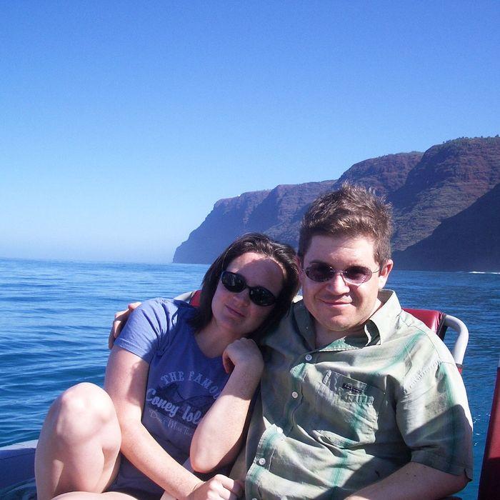 Michele McNamara with her husband, Patton Oswalt.