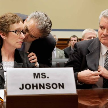 WASHINGTON, DC - APRIL 16:  Former Government Services Administration head Martha Johnson (L) hears from her attorney as Jeff Neely, regional commissioner for the General Services Administration's Public Buildings Service Pacific Rim Region, looks on before a hearing of the House Oversight and Government Reform Committee on Capitol Hill April 16, 2012 in Washington, DC. Johnson recently resigned from the GSA after an investigation revealed the agency, with Neely in the lead, spent about $823,000 on a 2010 Las Vegas convention for 300 employees, including thousands of dollars spent on items such as a commemorative coin set, a mind reader, a comedian and a clown. Six other officials have resigned, been fired or suspended in the wake of the scandal.  (Photo by Chip Somodevilla/Getty Images)
