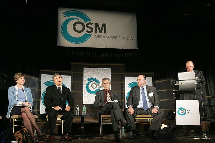 NEW YORK - NOVEMBER 16: (L-R) In this handout image provided by Open Source Media, a panel of journalists and bloggers, including Claudia Rosett, Richard Fernandez, David Corn, John Podhoretz and Larry Kudlow, speak about the future and interaction of their media during the Open Source Media conference November 16, 2005 in New York City. The conference, with journalist Judith Miller as the keynote speaker, features discussions on the future of blogging and journalism. Open Source Media is a new online media company that brings together online journalists, commentators and bloggers to foster open exchange as well as discussion. (Photo by Seth Wenig/Open Source Media via Getty Images)