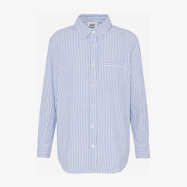 Striped Cotton-Poplin Nightshirt - strategist best white with blue pin stripes collard cotton long sleeved night shirt
