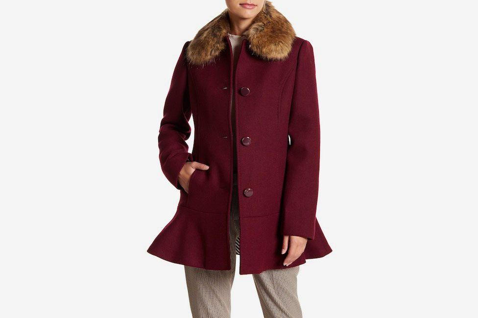 Kate Spade Faux Fur Collar Wool Blend Flounce Coat